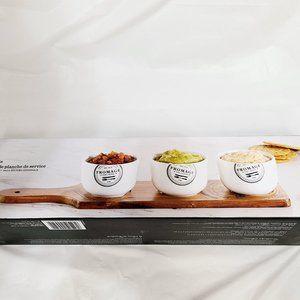 NIB Acacia Wood Serving Board and 3 Ceramic Bowls